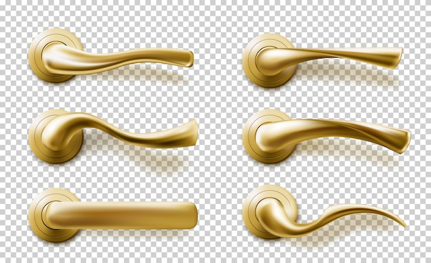 Realistic door handles set, golden isolated knobs