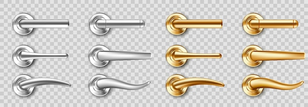 Realistic door handles set, golden and silver knobs of different shapes. shiny gold and steel modern metal doorknobs, design elements for interior isolated on transparent background 3d icons