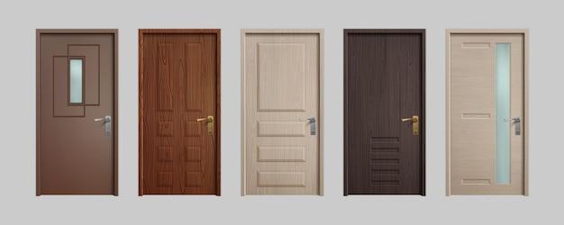 Реалистичные двери. деревянные входные двери дома 3d, белый и коричневый офис внутри входа. векторный набор изолированных иллюстрация входной двери на белом фоне