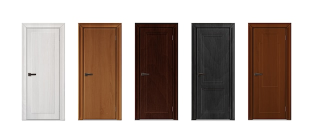 Realistic doors collection illustration