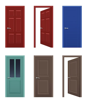 Реалистичные двери. открытые и закрытые входные двери квартир разного цвета. интерьер дома и иллюстрации двери офиса