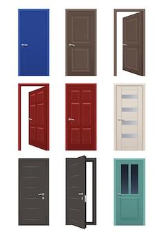 Реалистичные двери. вход в комнату открытые и закрытые двери интерьер дома квартира векторные иллюстрации. коллекция входных дверей, интерьер архитектуры внутри