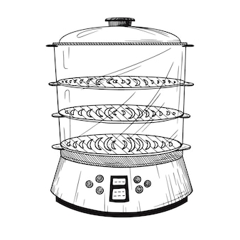 Realistic double boiler  on white background.  illustration in sketch style.