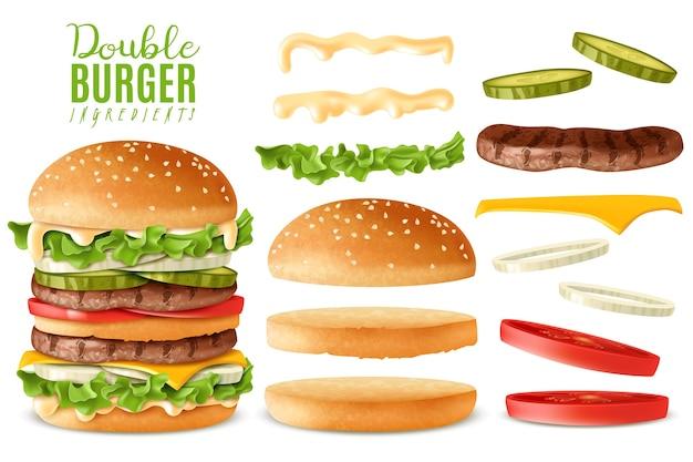 Набор реалистичных двойных бургеров