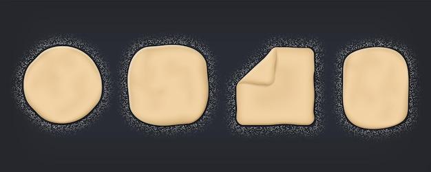 현실적인 반죽. 밀가루와 베이킹 매스가 탁자 위에 있고, 요리를 위한 3d 반죽의 위쪽 전망. 검정색 배경에 레스토랑 메뉴 디자인을 위한 벡터 빵 또는 피자 베이킹 포스터