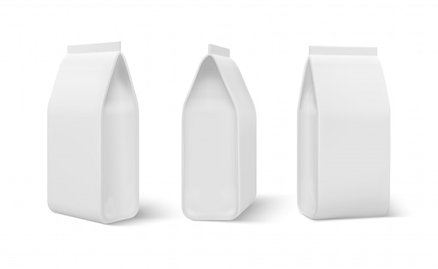현실적인 도이 팩. 음식 가방, 개 식사 빈 포장, 커피 스낵 파우치. 빈 3d 템플릿 흰색 절연