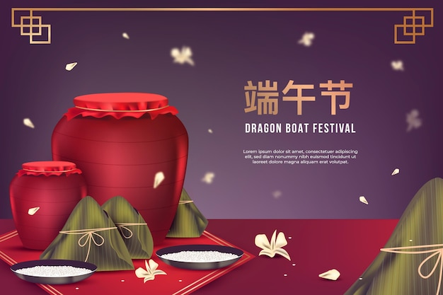 Realistic dragon boat background