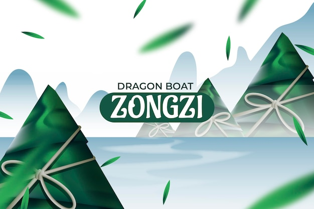 Realistic dragon boat's zongzi background
