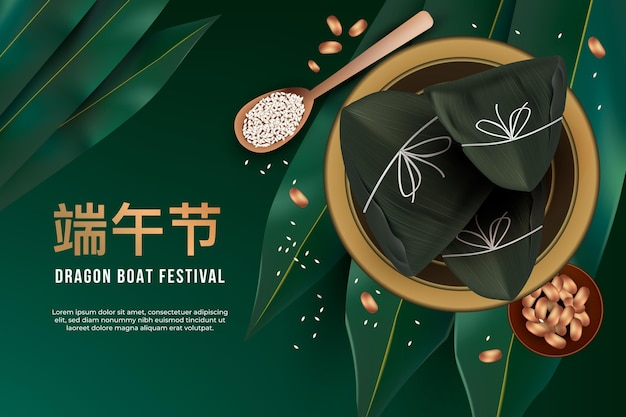 Realistic dragon boat's zongzi background