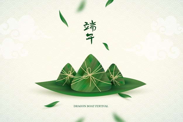 Realistic dragon boat zongzi background
