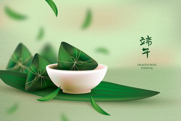 Realistic dragon boat zongzi background