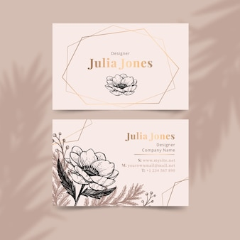 Realistic draw floral business card template