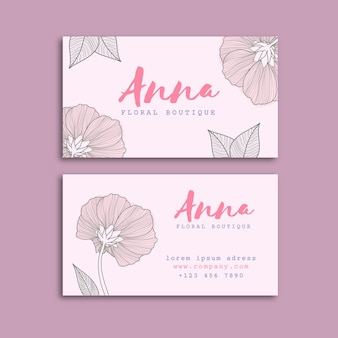 Realistic draw of floral business card template