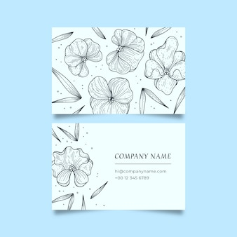 Realistic drawing of floral business card template