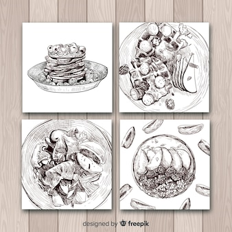 Realistic drawing food card collection