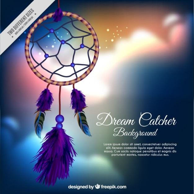 Realistic dream catcher on a blurred clouds background