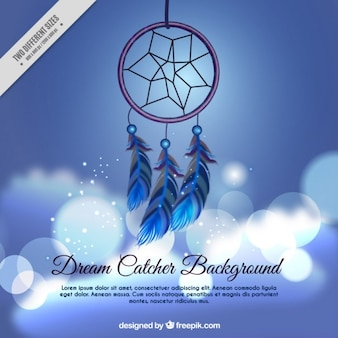 Realistic dream catcher on a bokeh background