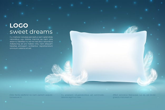 Realistic dream concept. comfort sleep, bed relax pillow with feathers, clouds stars on night sky. dream 3d background