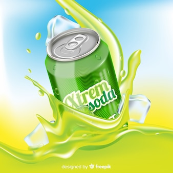 Realistic drink advertisement on abstract background
