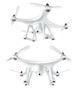 Realistic drone quadcopter set