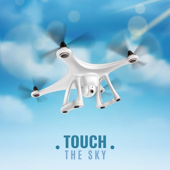 Realistic drone in sky illustration