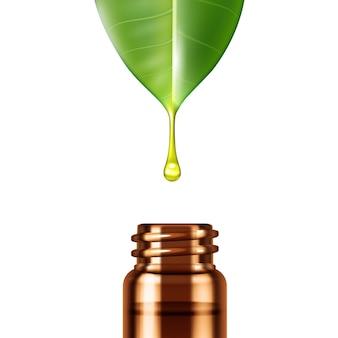 Реалистичная капля эфирного масла, стекающая с зеленого листа в стеклянную бутылку
