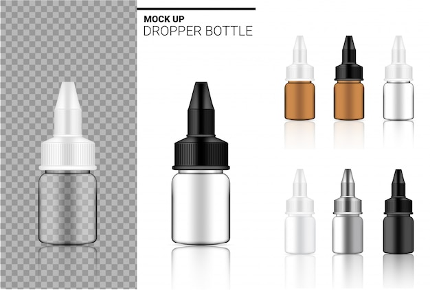 Realistic dropper bottle set