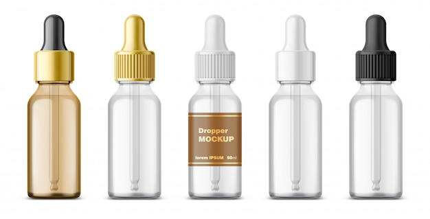 Realistic dropper glass bottle set. cosmetic blank vials for liquid drug.