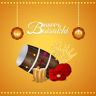 Realistic drum of happy baisakhi greeting card