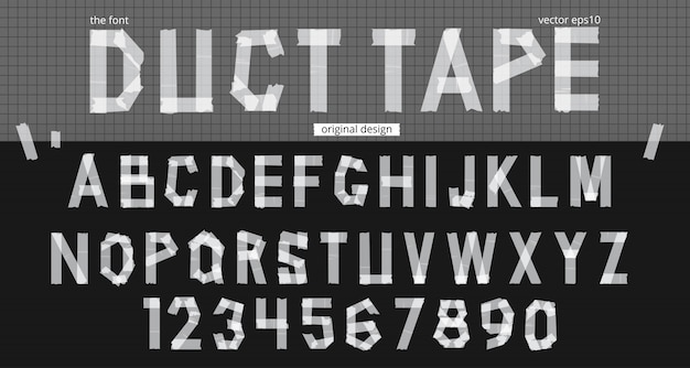 Realistic duct tape alphabet template