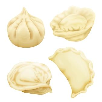 Realistic dumplings set. vareniki pierogi ravioli khinkali pelmeni manti momo tortellini.
