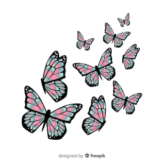 Realistic duotone butterflies group flying