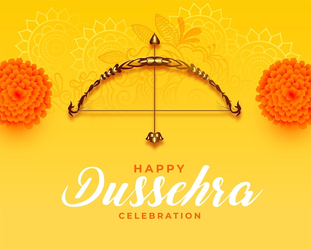 Realistic dussehra card with flowers and bow arrow