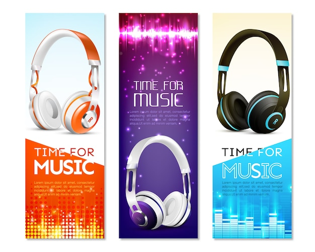 Realistic earphones vertical banner set