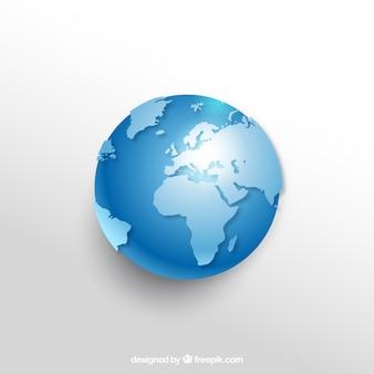 Реалистичный земной шар в голубых тонах