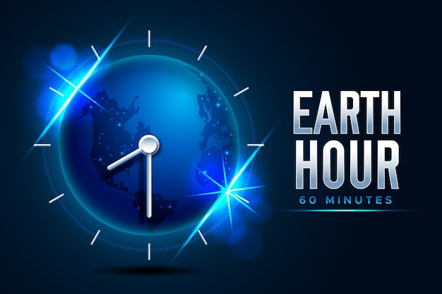Realistic earth hour illustration with planet and clock