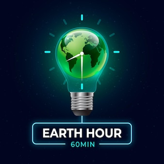 Realistic earth hour illustration with planet and lightbulb