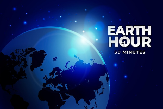 Realistic earth hour illustration with planet