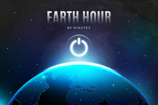 Realistic earth hour illustration