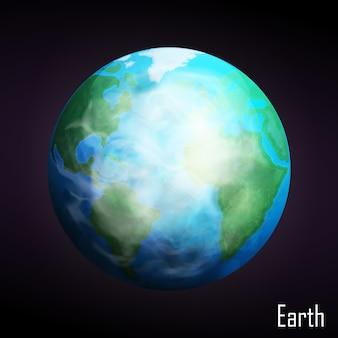 暗い背景に分離された現実的な地球惑星。図。