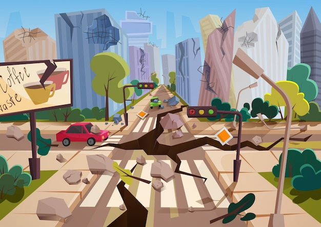 Realistic earthquake with ground crevices in cartoon ruined urban city houses with cracks and damages. natural disaster or cataclysm, nature catastrophe vector illustration