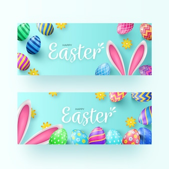 Realistic easter banners set