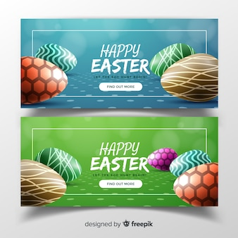 Realistic easter day banners