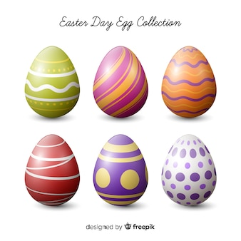 Realistic easter day egg collection