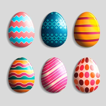 Realistic easter day egg set