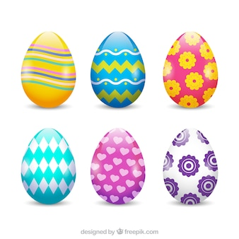 Realistic easter day eggs collection