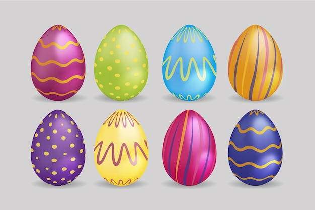 Realistic easter day eggs with curvy lines and dots
