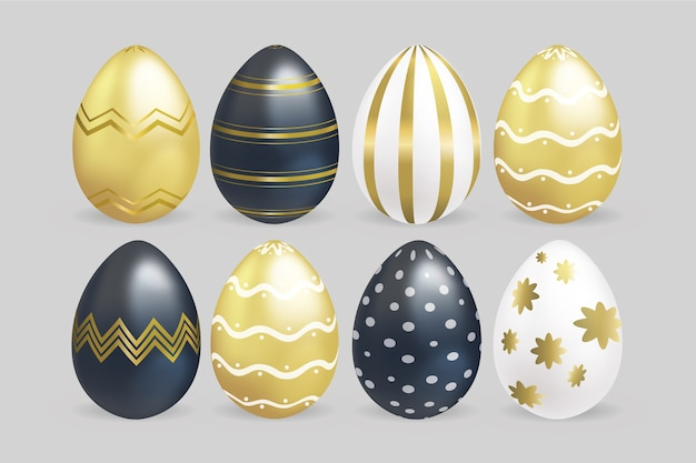 Realistic easter day eggs with golden details