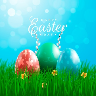 Realistic easter day with eggs on grass