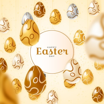 Realistic easter design with golden eggs
